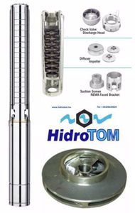 Kép Hidrotom SP1018 104m-2,5m3 magas homoktűrésű rozsdamentes járókerekekkel szerelt mélykút búvárszivattyú 750W 230V